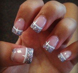 Gel Nails With Glitter Tip And White Line Love It