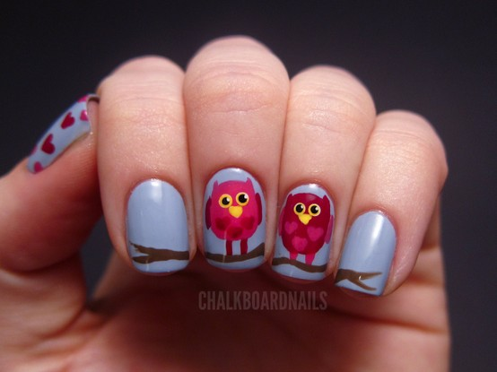 Chalkboard Nails: Valentine's Owl Nail Art Tutorial - Chalkboard Nails: Valentine's Owl Nail Art Tutorial - The Beauty Thesis