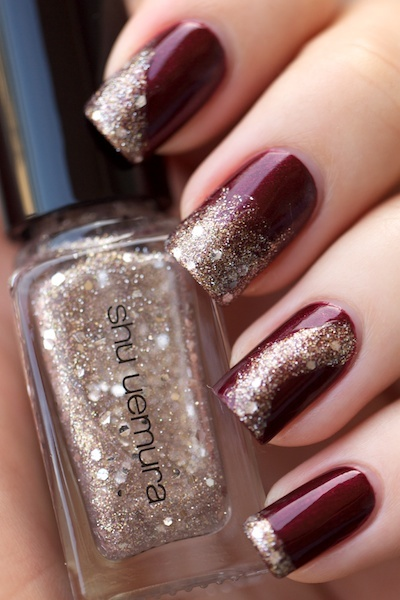Love This Dark Color With Sparkles Nail Design The Beauty Thesis