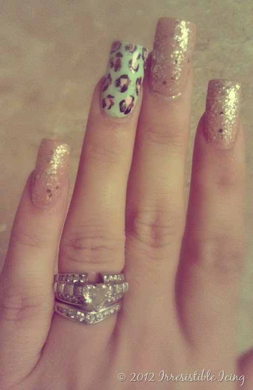 mint and peach nails with glitter - The Beauty Thesis
