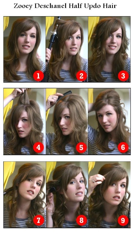 Zooey Deschanel Half Updo Hairstyle Hairstyles Tutorial The