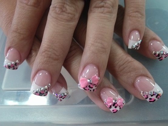 Pink and White Leopard Nails with 3d bows - The Beauty Thesis