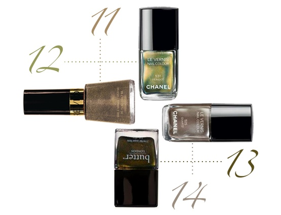 11. Revlon Gold Coin  12. Chanel Peridot  13. Butter London Wallis  14. Chanel Quartz - The Beauty Thesis